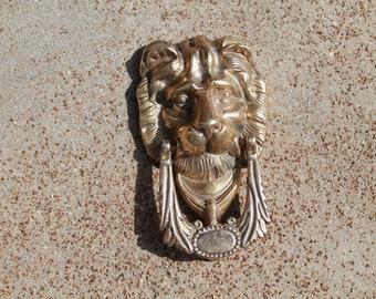 Brass Door Knocker, Lion Head Door Knocker, Brass Lion Head