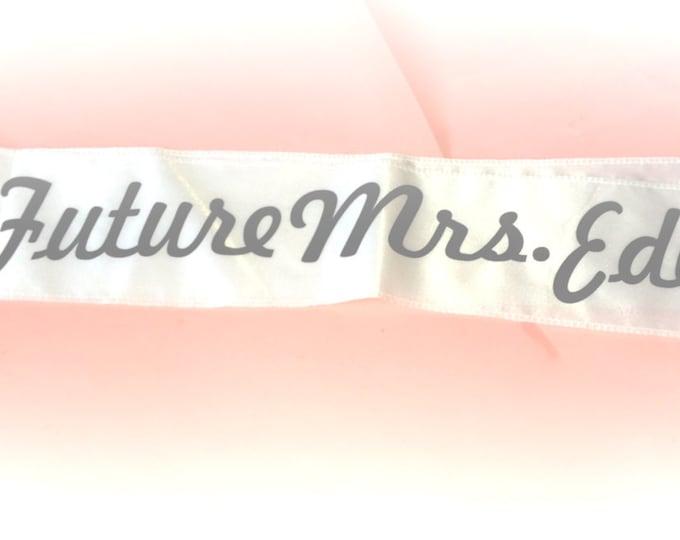 Future Mrs Last Name Sash / Custom Bride Sash / Personalized Bachelorette Party Sash / hot Pink / Aqua / White / Plus Size Sash / Weddings