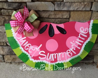 summer door hanger, summer wreath, summer door sign, Watermelon Doorhanger, watermelon decor
