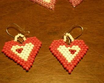 Heart in Heart Beaded Earrings