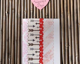Love Card – Handmade Card - Birthday Card – Anniversary Card – Romantic Card – Anytime Card – Arrows & Roses Love Card