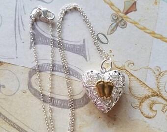 Hand Made Pro Life Jewelry, heart shaped filigree locket with Precious feet