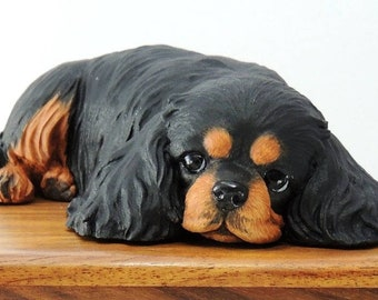 Cremation Urn for Cavalier King Charles Spaniel Ashes, Black & Tan or painted like your own pet