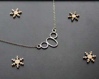 Dainty necklace, silver connector pendant