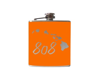808 Hawaii Flask- alcohol, liquor, booze, wedding, bridal party, hip pocket- Personalized Custom - YOU pick COLOR