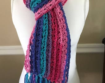 Crochet Scarf, Scarf, Loose Weave Scarf, Open Weave Scarf, Winter Scarf, Light Weight Scarf, Blue Scarf, Pink Scarf, Teal Scarf, Purple