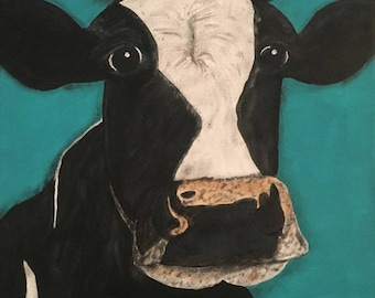 "Cow canvas painting print - ""Bessie"""