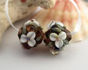 Elizabeth Creations ENGLISH GARDEN artisan lampwork matching handmade glass beads Sra