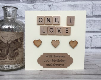 One I Love Birthday Card, One I Love Scrabble Birthday Card, Scrabble Birthday Card For One I Love, Scrabble Birthday Card