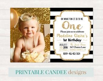 Gold and Black Birthday Invitation, 1st Birthday Invitation, Girl Birthday Invitation, Gold Glitter Invitation, Gold and Black Birthday