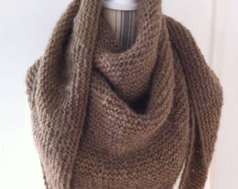 Trendy shawl beige taupe lightweight wool