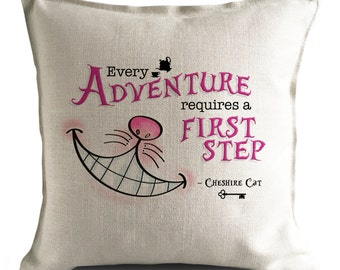 Alice in wonderland Cushion Cover, Every Adventure Cheshire Cat, Mad Hatter Tea Party, Wonderland Home Decor, wonderland cushion, home decor