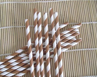 100 Colored Striped Paper Drinking Straws-Brown and White Stripe Straws-Cake Pop Sticks Party Drinking Straws