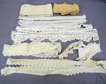 Vintage Crochet Trim lot white cream salvage lace 15+ yds