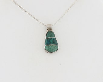 Sterling Silver Turquoise Necklace 16 inch snake chain