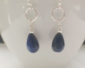 Blue Lapis Lazuli Teardrop Earrings, Sterling Silver Long Dangle Circle Earrings, Royal Blue Gemstone Jewelry, Gift for Her, Lapis Earrings,