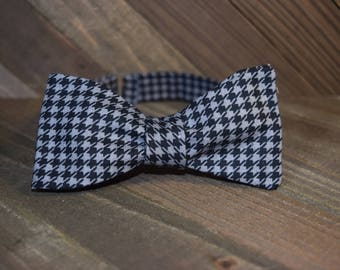 Black & Gray Hounds-tooth Self Tie Bow Tie