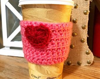 Pink Valentine Reusable Crochet Coffee Sleeve