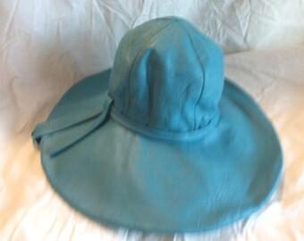Vintage Paris Hat Turquoise Leather Collectors Item 60s 50s