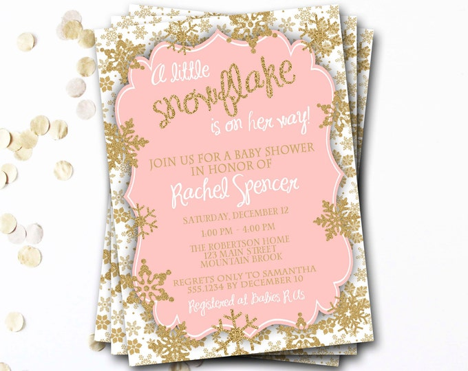 Snowflake Baby Shower Invitation, Winter Baby Shower, Pink and Gold Baby Shower Invitation, Snowflake Invitation, DIY Printable