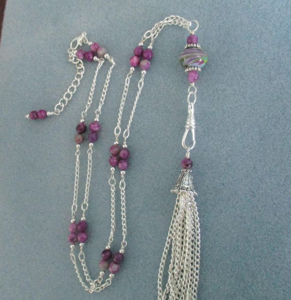 Sugilite and Lampwork Glass Lanyard With Detachable Tassel L6151744