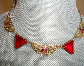 """1930's, 16"""" long, art deco necklace of triangular, cherry red  glass"""