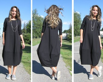 Black dress, Oversize dress,Maxi tunic, Black casual dress, Maxi dress, Black dress, Midi dress, Long sleeve dress, Plus size dress