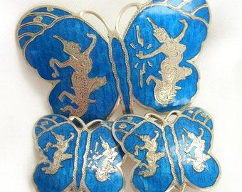 Vintage Blue Siam Brooch and Earrings Sterling Silver Set Butterflies Jewelry
