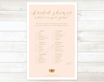 pink gold bridal shower what's in your purse printable game blush pink gold glitter hearts wedding shower digital games - INSTANT DOWNLOAD