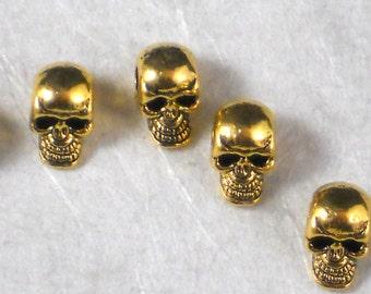 12 Golden Skull Beads Large 3mm Hole Skulls 8mm Gold Tone Creepy 3D SIDE Hole (P1987)