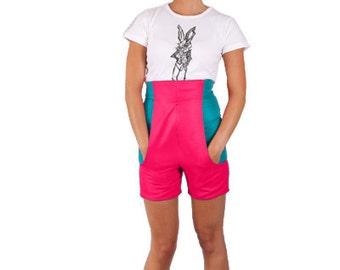 Wonderland High Waisted Contrast Pink & Jade 'White Rabbit Shorts' *Limited Edition - Ladies