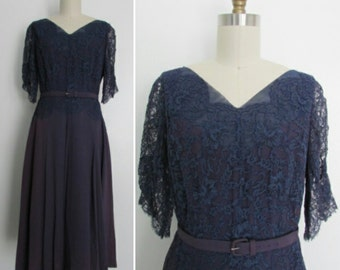 1940s lace dress   vintage 40s dress   formal 1940s dress   medium - large    Yesteryear's Midnight Blue Lace and Mauve Party Dress