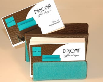 Business Card stand wavy, brown/turquoise, metal core, leather, available only at DIPLOMATofIlja