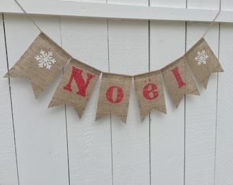 NOEL Burlap Banner, Christmas Burlap Banner,  Christmas Decor, Christmas Garland, Merry Christmas Banner, Photo Prop