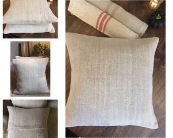 Linen grain sack cushion