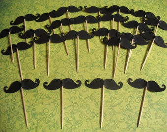 MUSTACHE BASH Lil Man Baby Boy Shower Cupcake Toppers Picks SET of 24