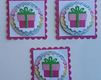 Birthday Scrapbooking Embellishments Set of 3, Card Making, Scrapbooking, Tags, Birthday Die Cuts
