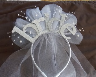 Bride Party  XL sparkle Headband  with veil for new  Bride to be , Bride Gift, Bridal Shower and  Bachelorette Gift , Hen do Party CUSTOMIZE