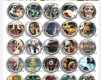 Bottle cap cameo: 25pcs 25mm 1 inch circle round Resin Cabochon.  Zombie 6 Cir