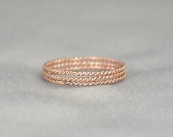 Rose Gold Spiral Rings, 14k Rose Gold Filled, Stacking Ring, Boho Stacking Rings, Ring Gold, Rustic Gold Rings, Thin Rose Gold Ring, Alari