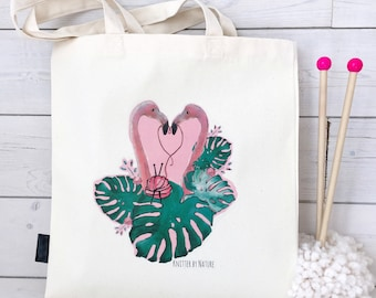 Flamingo Knitting Bag | Knitter By Nature | Watercolour Flamingo Illustration | Cute Knitting Bag | Flamingo Tote Bag | Knitting Tote