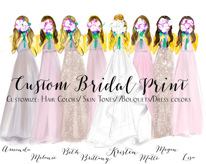 Featured listing image: Bridesmaids (Custom Fashion Illustration Print) (Personalized Bridesmaids Gift- Bridal Illustration - Bridesmaid Gift- Wedding Gift)