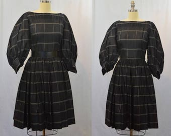 1950's Black and White Window Pane Plaid Full Skirt and Sleeves