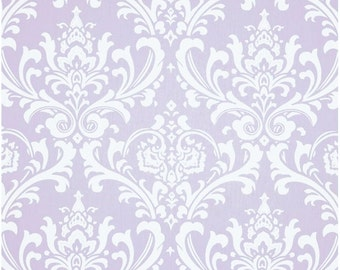 1/2 Yard Light Purple and White Damask Fabric - Premier Prints Wisteria and White Twill Ozbourne Damask Fabric HALF YARD ozborne osbourne