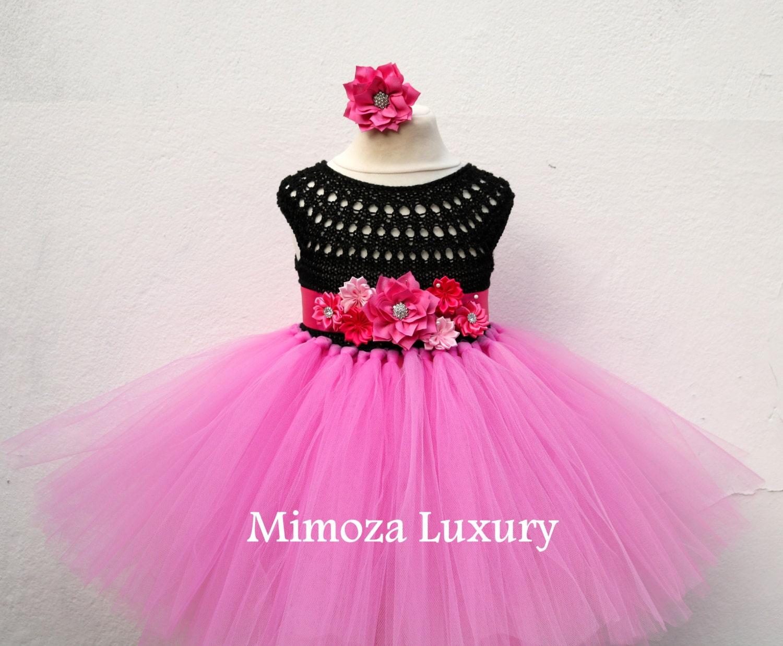 Black Pink Flower Girl Dress Hot Pink Tutu Dress Birthday