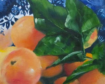 Small oil painting of apricots in a blue dish,original fruit painting