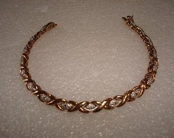 Genuine White Diamond 14k Gold / 925 Sterling Silver Tennis Bracelet 7.25