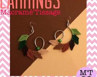 Boucles d'oreilles en forme de Feuilles en Macramé・Boucles d'oreilles Pendantes・Boucles d'oreilles Bohèmes・Cadeau de Noël ou Anniversaire