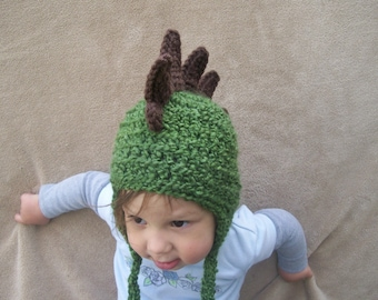 Animal Hat for Children - Dragon Hat in Olive Green, Army Green, Rawr,  Stego Hat for Boys