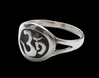Ohm ring - Sterling Silver Aum Ohm OM ring  - All sizes - Reiki Meditation Mantra sound